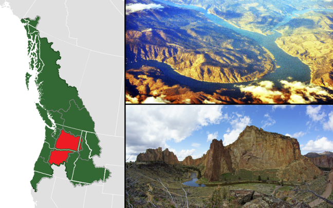 cascadia map, cascade plateau, columbia plateau, columbia river, spokane river, smith rock