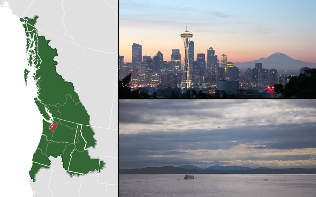 cascadia map, puget sound, seattle, mount rainier, bainbridge island