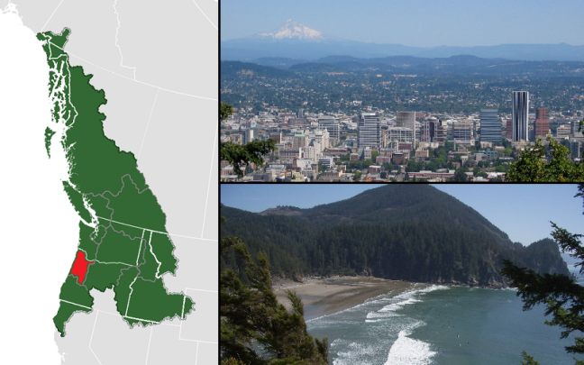 cascadia map, willamette valley, portland oregon, mount hood, oregon coast