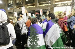 cascadia flags, womens march, anti-trump protest