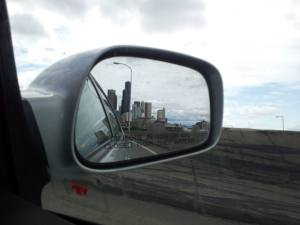 seattle skyline in mirror